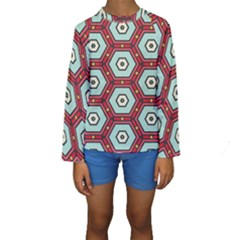 Hexagons pattern  Kid s Long Sleeve Swimwear