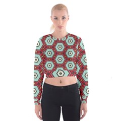 Hexagons pattern   Women s Cropped Sweatshirt