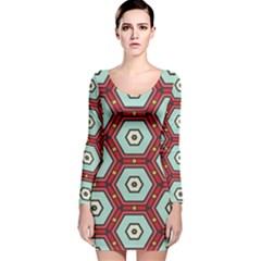 Hexagons Pattern Long Sleeve Velvet Bodycon Dress