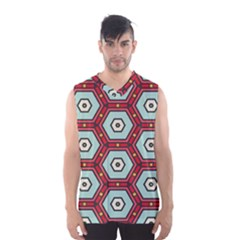 Hexagons Pattern Men s Basketball Tank Top