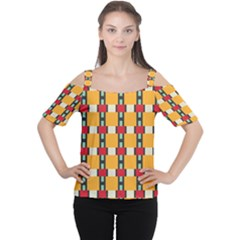 Rectangles and squares pattern Women s Cutout Shoulder Tee