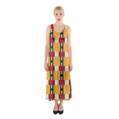 Rectangles and squares pattern Full Print Maxi Dress
