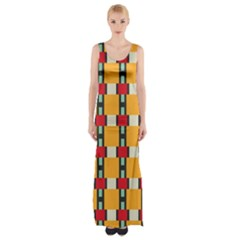 Rectangles and squares pattern Maxi Thigh Split Dress
