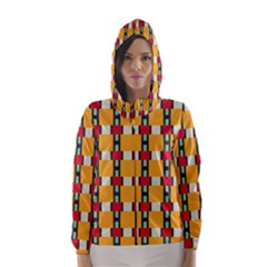 Rectangles and squares pattern Hooded Wind Breaker (Women)