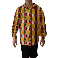 Rectangles And Squares Pattern Hooded Wind Breaker (kids)