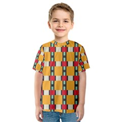 Rectangles And Squares Pattern Kid s Sport Mesh Tee