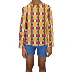 Rectangles And Squares Pattern  Kid s Long Sleeve Swimwear