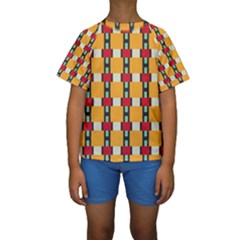 Rectangles and squares pattern  Kid s Short Sleeve Swimwear