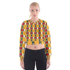 Rectangles And Squares Pattern   Women s Cropped Sweatshirt