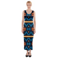 Rhombus  circles and waves pattern Fitted Maxi Dress