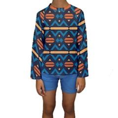 Rhombus  circles and waves pattern  Kid s Long Sleeve Swimwear