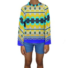 Rectangles and other shapes  Kid s Long Sleeve Swimwear