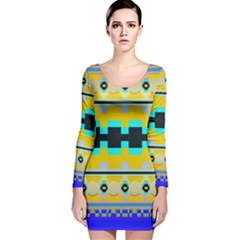 Rectangles And Other Shapes Long Sleeve Velvet Bodycon Dress