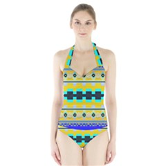 Rectangles and other shapes Women s Halter One Piece Swimsuit