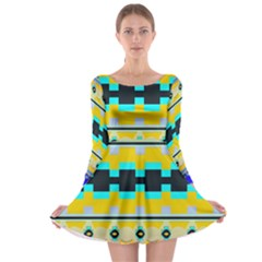 Rectangles And Other Shapes Long Sleeve Skater Dress