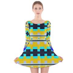 Rectangles and other shapes Long Sleeve Velvet Skater Dress