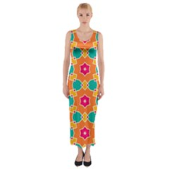 Pink Flowers Pattern Fitted Maxi Dress