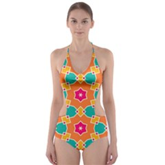 Wavy design Cut-Out One Piece Swimsuit