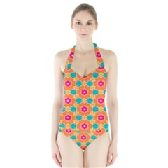 Pink flowers pattern Women s Halter One Piece Swimsuit