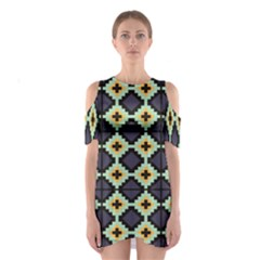Pixelated pattern Women s Cutout Shoulder Dress
