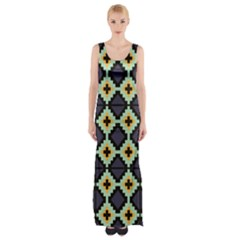 Pixelated pattern Maxi Thigh Split Dress