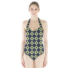 Pixelated pattern Women s Halter One Piece Swimsuit