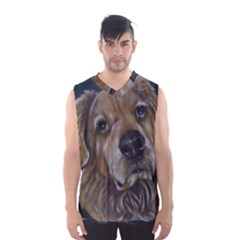 Selfie of A Golden Retriever Men s Basketball Tank Top