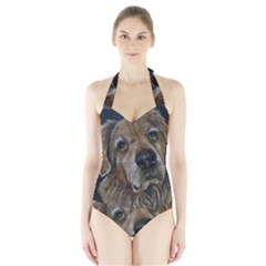 Selfie of A Golden Retriever Women s Halter One Piece Swimsuit