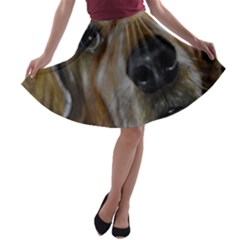 Selfie of A Golden Retriever A-line Skater Skirt
