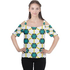 Blue stars and honeycomb pattern Women s Cutout Shoulder Tee