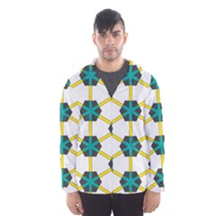 Blue Stars And Honeycomb Pattern Mesh Lined Wind Breaker (men)