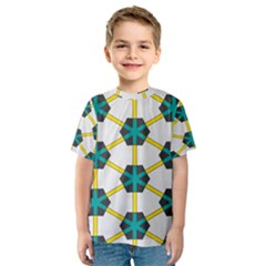 Blue stars and honeycomb pattern Kid s Sport Mesh Tee
