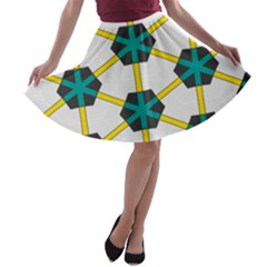 Blue stars and honeycomb pattern A-line Skater Skirt
