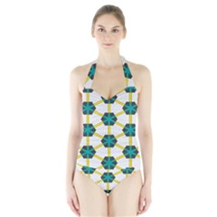 Blue stars and honeycomb pattern Women s Halter One Piece Swimsuit