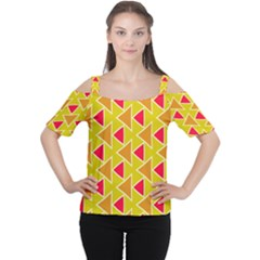 Red brown triangles pattern Women s Cutout Shoulder Tee