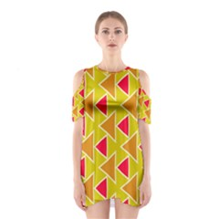 Red brown triangles pattern Women s Cutout Shoulder Dress