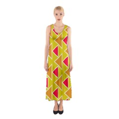 Red brown triangles pattern Full Print Maxi Dress