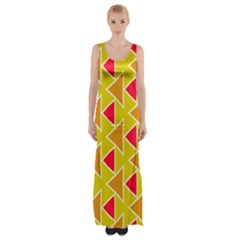 Red Brown Triangles Pattern Maxi Thigh Split Dress