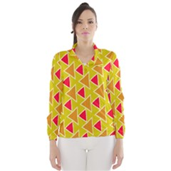 Red brown triangles pattern Wind Breaker (Women)