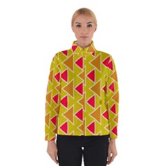 Red brown triangles pattern Winter Jacket