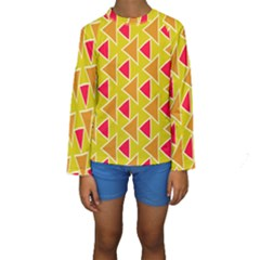 Red brown triangles pattern  Kid s Long Sleeve Swimwear