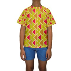 Red Brown Triangles Pattern  Kid s Short Sleeve Swimwear