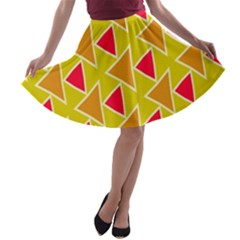 Red brown triangles pattern A-line Skater Skirt