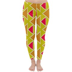 Red Brown Triangles Pattern Winter Leggings