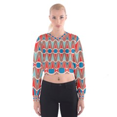 Rhombus And Ovals Chains   Women s Cropped Sweatshirt