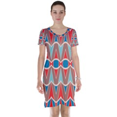 Rhombus And Ovals Chains Short Sleeve Nightdress