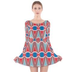 Rhombus And Ovals Chains Long Sleeve Velvet Skater Dress