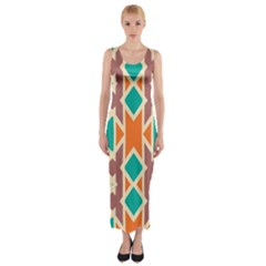 Rhombus triangles and other shapes Fitted Maxi Dress