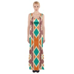 Rhombus Triangles And Other Shapes Maxi Thigh Split Dress
