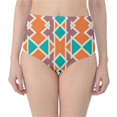 Rhombus Triangles And Other Shapes High Waist Bikini Bottoms